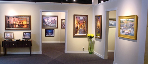 One of the lobby areas at Ashley's Art Gallery.