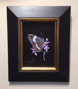 Painting of a white admiral butterfly