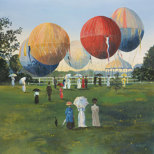 Balloons in the Park by Sally Caldwell Fisher, OPEN EDITION CANVAS