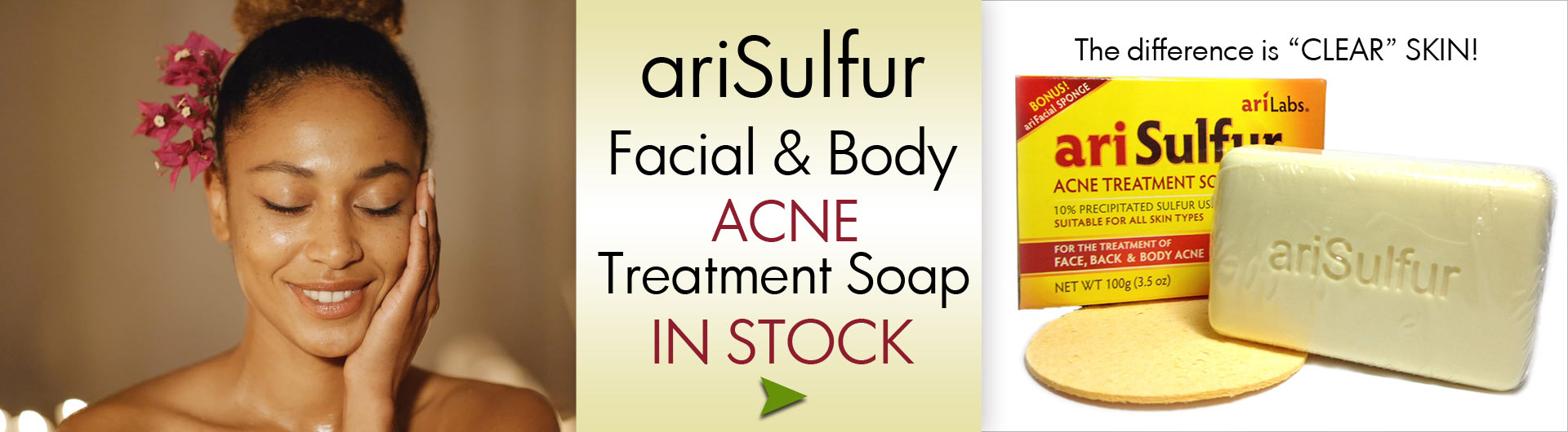 arisulfur facial and body acne treatment soap in stock