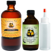 Sunny-Isle-Jamaican Black Castor Oil-8oz-with-Extra-Virgin-Coconut-Oil-4oz-and-Applicator-Bottle