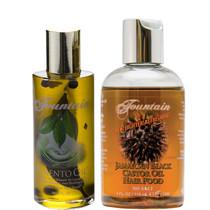 Fountain Pimento Oil 2oz and Fountain Jamaican Black Castor Oil Hair Food 4oz Combo