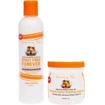 Sunny Isle JBCO Knot Free Forever Natural Leave In Detangler and Curly Custard 8oz