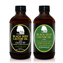 Tia Naturals Black Seed Castor Oil with CACTUS Oil and HEMP Seed Oil 2-Pack