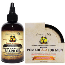 Sunny Isle Jamaican Black Castor Oil Beard Oil and Hair Food Pomade for Men 4oz Combo