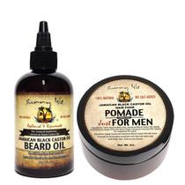 Sunny Isle Jamaican Black Castor Oil Beard Oil and Hair Food Pomade for Men 4oz Combo