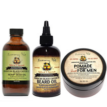 Sunny Isle Jamaican Black Castor Oil Beard Oil Pomade for Men 4oz and JBCO Hemp 4oz Combo