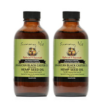 Sunny Isle Jamaican Black Castor Oil infused with HEMP SEED OIL 4Oz 2-Pack