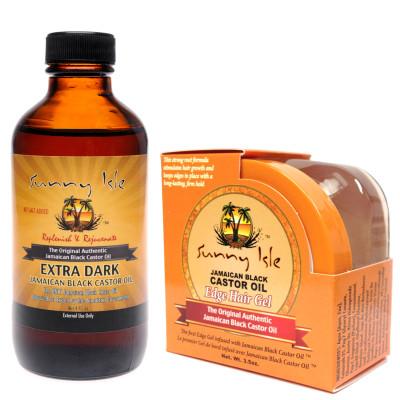 Sunny Isle Extra Dark Jamaican Black Castor Oil 4oz and Edge Control Gel 3.5oz