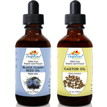 Tropical Holistic 100% Pure Organic Cold Presseed Black Seed Oil & Castor Oil 4oz Combo