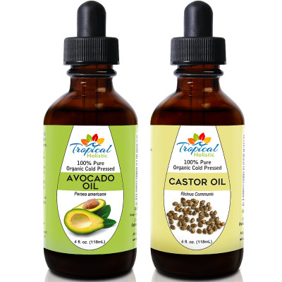 Tropical Holistic 100% Pure Organic Cold Pressed Avocado and Castor Oil 4oz Combo
