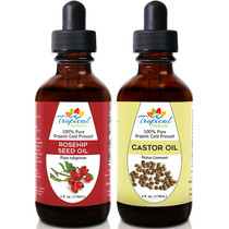 Tropical Holistic 100% Pure Organic Cold Pressed Rosehip Seed Oil and Castor Oil 4oz Combo