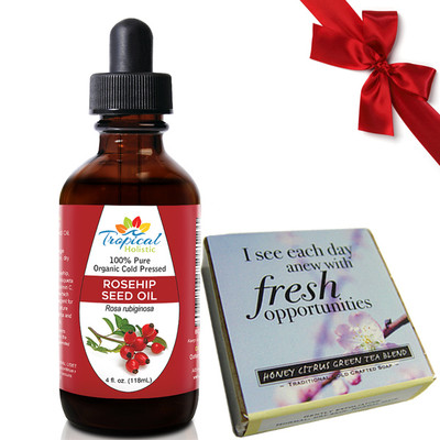 Tropical Holistic 100% Pure Organic Cold Pressed ROSEHIP SEED OIL 4oz and Honey Citrus Affirmation Soap