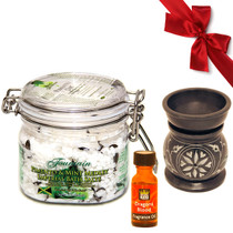 Fountain Pimento and Mint Medley Imperial Bath Salts 16oz with Oil Diffuser and Dragon's Blood Fragrance Oil