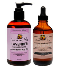 Sunny Isle Jamaican Black Castor & Lavender Massage and Aromatherapy Oil 8oz with SKIN REPAIR 4oz Combo