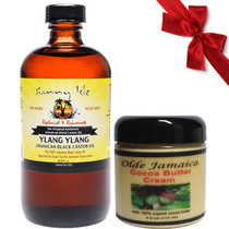 Sunny Isle Ylang Ylang Jamaican Black Castor Oil 8oz with Olde Jamaican Cocoa Butter Cream 4oz