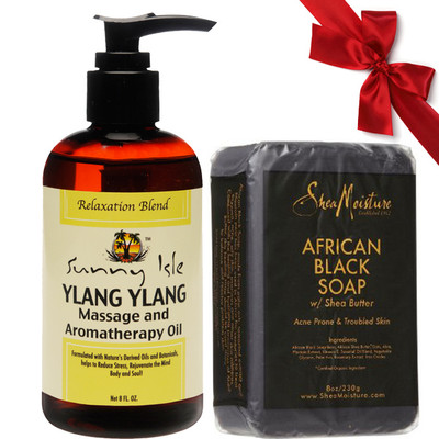 Sunny Isle Jamaican Black Castor & Ylang Ylang Massage and Aromatherapy Oil 8oz with SheaMoisture African Black Soap 8oz