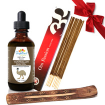 100% Pure Australian Emu Oil 4oz with Natural Passion Incense Set