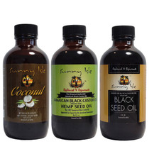 Sunny Isle Jamaican BlackCastor Oil BLENDS featuring Coconut Hemp and Black Seed 4 Oz Variety 3-Pack