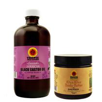 Tropic Isle Living Lavender Jamaican Black Castor Oil and Khus Khus Body Butter Combo