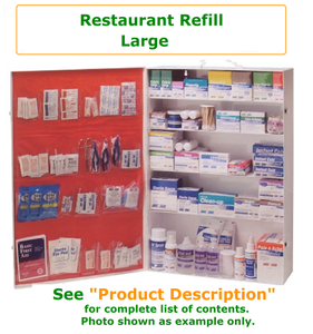 Complete variety of products to resupply an empty  large restaurant cabinet. Have all of the products you need to be prepared for your restaurant Workforce.