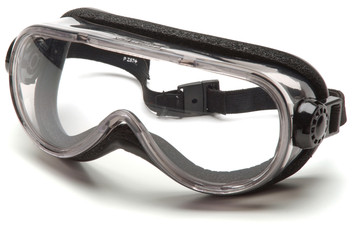 G404T FEATURES • Breakaway headband provides added protection and features quick fit retainer. • Top shelf chemical splash goggle features generously sized heavy duty body and lens with foam padding for comfort. • Special one-way vent allows air to enter while keeping liquids out. • Body tinted to reduce glare. • Lenses provide 99.9% protection against harmful UV rays.