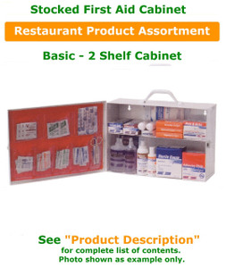 2 Shelf STOCKED First Aid Cabinet - Restaurant Product Assortment