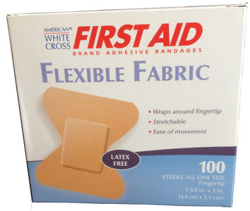 "American White Cross First aid Brand Adhesive Bandages Flexible Fabric Fingertip Adhesive Bandages 1 3/4"" x 2"" - 100/Box"