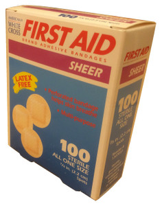 "Sheer Spot Adhesive Bandages 7/8""  American White Cross®  First Aid Brand  100 Per Box - All One Size      Perforated Bandage - Helps Skin Breathe     Absorbent, Non-Stick Pad - Absorbs drainage and protects     Unique, Long Lasting Adhesive - Superior Sticking Power Keeps Bandage In Place.     Latex Free"