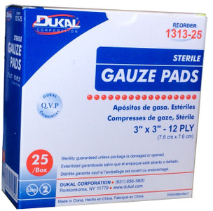 "Gauze Pads 3"" x 3"" - Sterile - Individually wrapped - 25 Per Box"