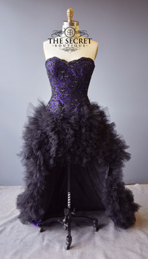 Gothic high low textured wedding dress