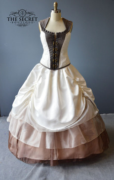 Steampunk lock wedding gown