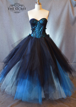 Gothic wedding dress blue and black