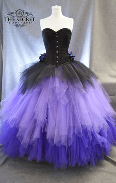 Black and purple gothic ombre wedding dress