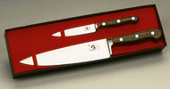 "#2005FG  Suggested Retail $193.50 Forged with bolsters, rosewood handles: 4"" paring (#201FG-4) and 8"" chef (#209FG-8)"
