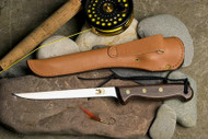"6"" fillet shown with hand stitched leather belt sheath RF600S Sugg Retail $77.00"