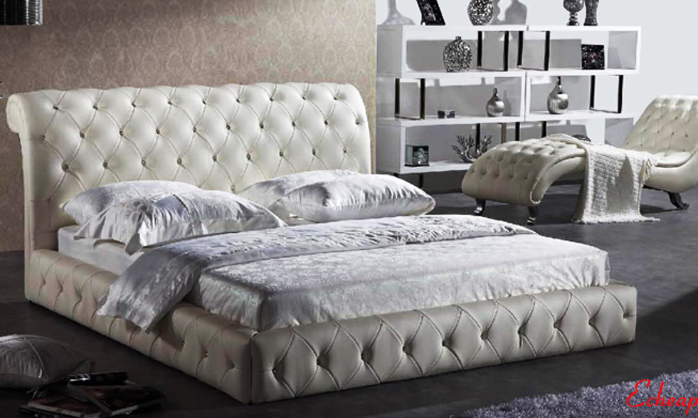 White Leather Bed With Diamond Buttons