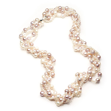 Long pearl rope necklace featuring mauve, cream and peach freshwater pearls