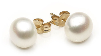 Classic 8mm white freshwater pearl stud earrings, timeless elegance for your wedding or special occasion.