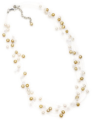 floating cream and gold pearl necklace