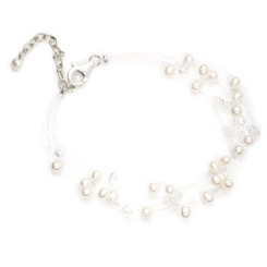 Beautiful floating white pearl bridal bracelet