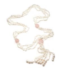 Denise rose quartz  & baroque pearl necklace