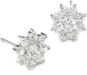Diamante stud bridal earrings with matching necklace and bracelet