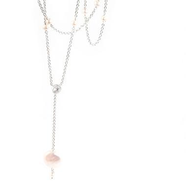 Long pearl drop bridal necklace