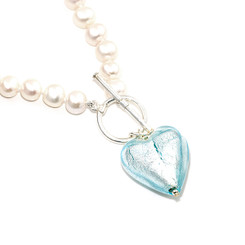 Ice blue murano heart and pearl pendant which is a gorgeous special occasion necklace