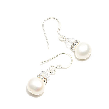 Pearl and crystal drop wedding earrings