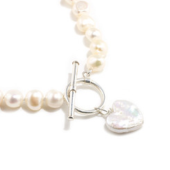 Pearl heart charm necklace lovely as bridesmaids jewellery