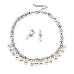 diamante and pearl evening necklace set