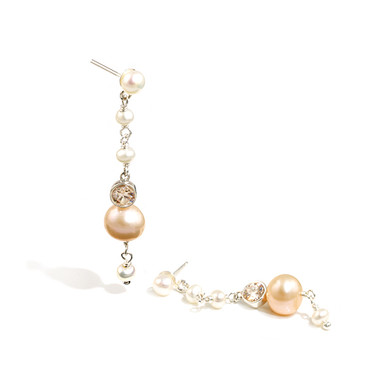 Peach pearl and crystal drop wedding earrings