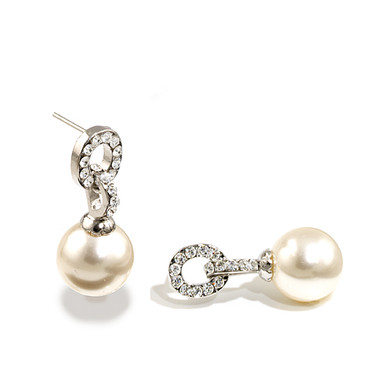 Pearl and diamante wedding earrings